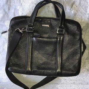 NAVA black leather laptop zippered bag chic should